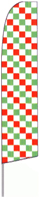 Checkered (Red, White & Green) Feather Flag