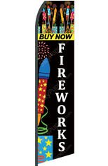FIREWORKS Buy Now (Black, Custom) Feather Flag