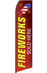 FIREWORKS Sold Here (Red, Custom) Feather Flag