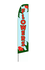 Flowers (Red/Blue) Feather Flag
