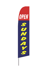 Open Sundays (Red and Blue) Feather Flag