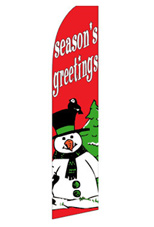 Season's Greetings - Snowman Feather Flag