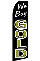 We Buy Gold (Black/White) Feather Flag