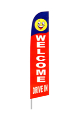 Welcome Drive In (Blue/Red) Feather Flag