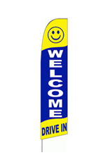Welcome Drive In (Yellow/Blue) Feather Flag
