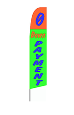 Zero Down Payment (Orange & Green) Feather Flag